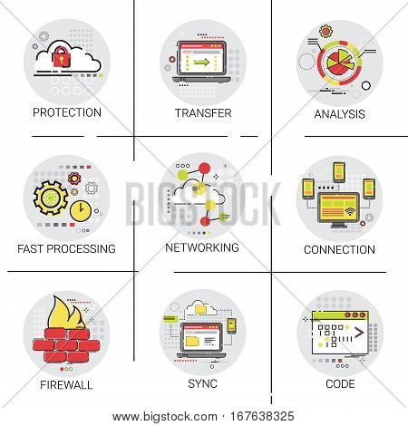 Sync Synchronize Internet Cloud Network Technology Data Protection Icon Set Vector Illustration