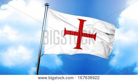 Templar knight flag flag, 3D rendering