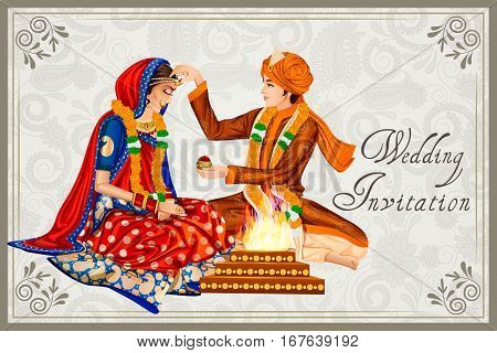 Vector design of Indian couple in wedding Maang Bharai ceremony of India