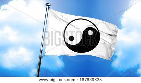 yin yang symbol flag, 3D rendering