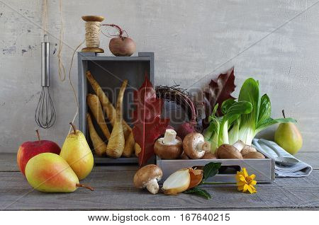 autumn still life with parsnips, bok choy, mushroom, beetroot and pears
