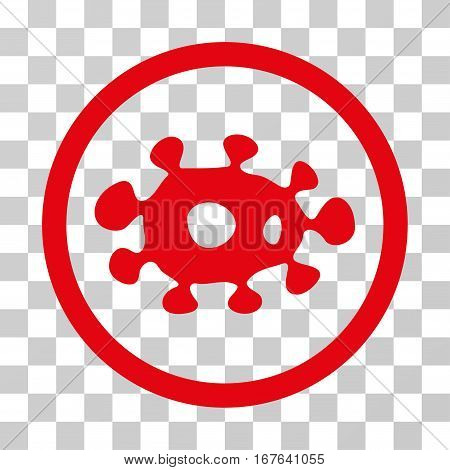 Virus rounded icon. Vector illustration style is flat iconic symbol inside a circle red color transparent background. Designed for web and software interfaces.