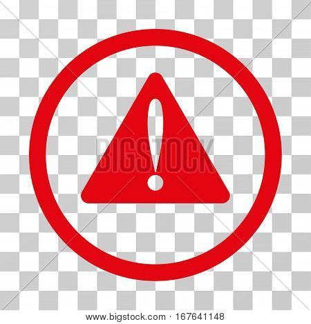 Warning Error rounded icon. Vector illustration style is flat iconic symbol inside a circle red color transparent background. Designed for web and software interfaces.