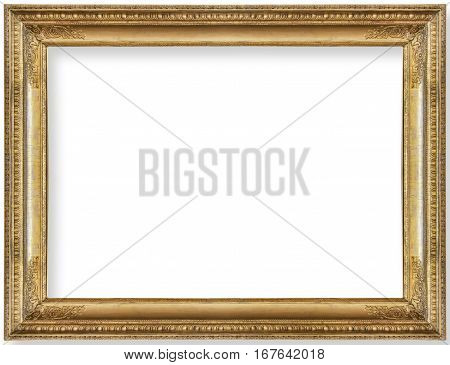 gold frame for a picture isolated on white background