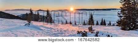 Panoramic View Of Amazing Mountain Sunrise
