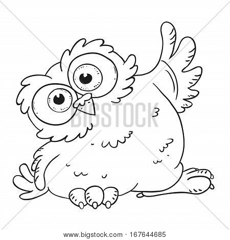 Funny cartoon character owl. Surprised owl with big eyes. Vector isolated coloring book. Contour on a white background.