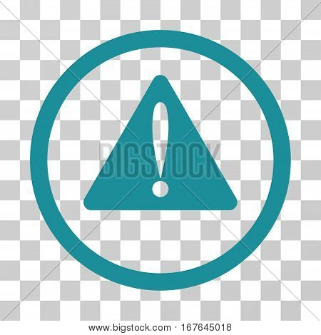 Warning Error rounded icon. Vector illustration style is flat iconic symbol inside a circle soft blue color transparent background. Designed for web and software interfaces.