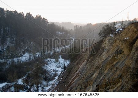 Winter Panorama Of Prokopsle Valley In Prague