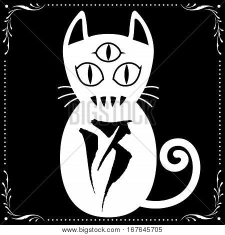 3 Eyed White Cat N0.13 with Floral frame Ornament