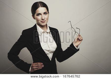 Business Woman Holding  Glass Looking Away At Blank Copy Space Isolated
