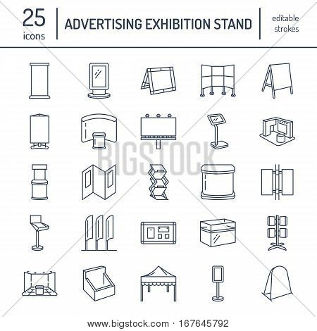 Advertising exhibition banner stands, display line icons. Brochure holders, pop up boards, bow flag, billboard folding marquees and other promotion design elements. Trade objects thin linear signs.