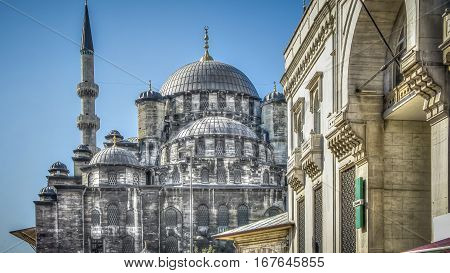 Istanbul, Turkey - April 28, 2012: The Yeni Cami (New Mosque), or Valide Sultan Mosque in Eminonu Istanbul
