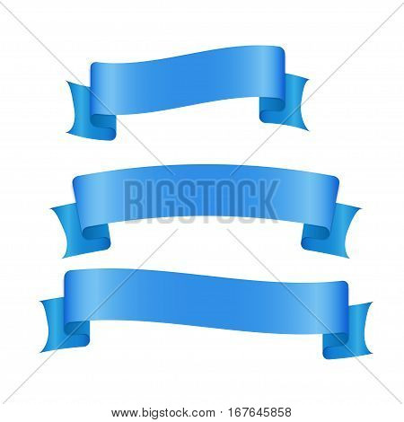 Blue ribbon banners set. Beautiful blank for decoration graphic. Old vintage style design. Premium decorative elements isolated on white background. Stock illustration