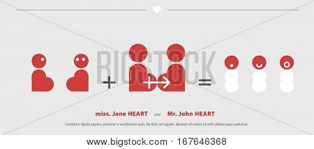 Wedding Invitations with short strips. Heart stylized to bride and groom, who are married, reproducted and have children. Witty minimalist comics on save date cards. Graphic layout of thank you card.