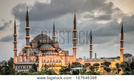 Istanbul, Turkey - September, 2013 - View of the Blue Mosque (Sultan Ahmet Camii), UNESCO World Heritage Site, in Sultanahmet at dusk, overlooking the Bosphorus, Istanbul, Turkey, Europe