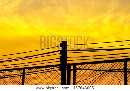 Powerline Colorful Of Sky And Clouds Background.