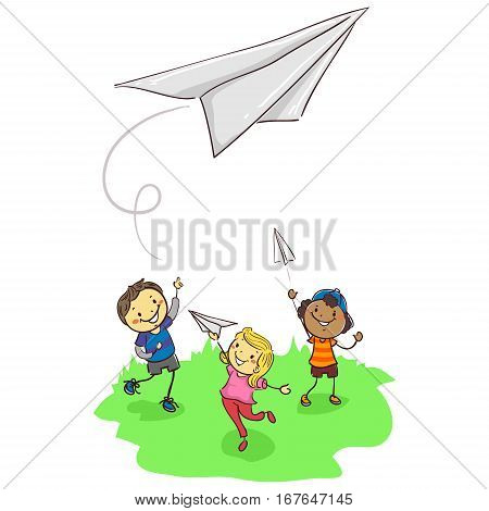 Vector Illustration of Stick Kids Playing Paper Plane