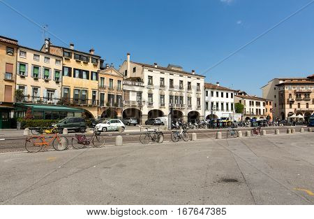 PADUA ITALY - MAY 3 2016: The old residential houses on Prato della Valle in Padua. Italy