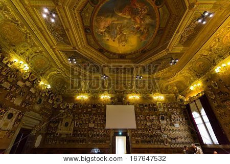 PADUA, ITALY - MAY 3, 2016: Palazzo Bo historical building home of the Padova University from 1539 in Padua Italy