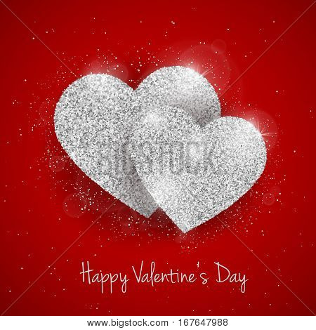 Vector Happy Valentine's Day greeting card with sparkling glitter silver textured heart on red background. Seasonal holidays background with love symbol