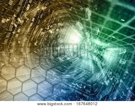 Computer background with tunnel and digits toned.