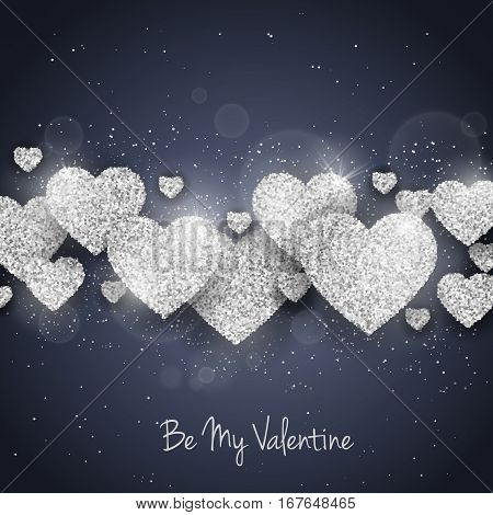 Vector Happy Valentine's Day greeting card with sparkling glitter silver textured hearts. Seasonal holidays background. Love Symbol background