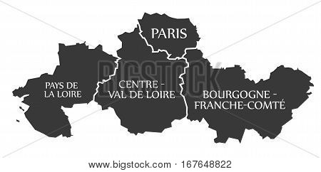 Pays De La Loire - Centre - Paris - Bourgogne - Franche Comte Map France