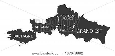 Bretagne - Normandie - Paris - Hauts-de-france - Grand Est Map France