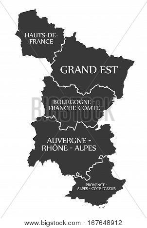 Hauts-de-france - Grand Est - Bourgogne - Auvergne - Provence Map France