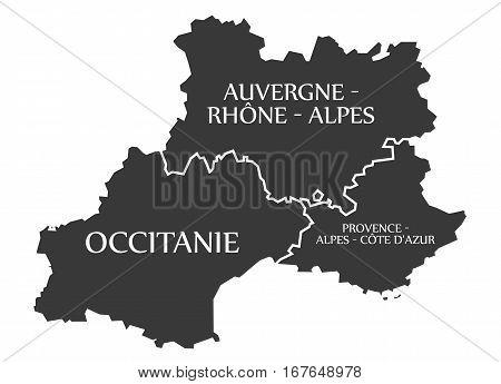 Auvergne - Occitanie - Provence - Alpes - Cote D Azur Map France