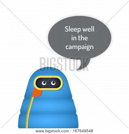 The character is in a sleeping bag and bubble on white background isolated objecty