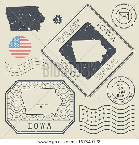 Retro vintage postage stamps set Iowa United States theme vector illustration