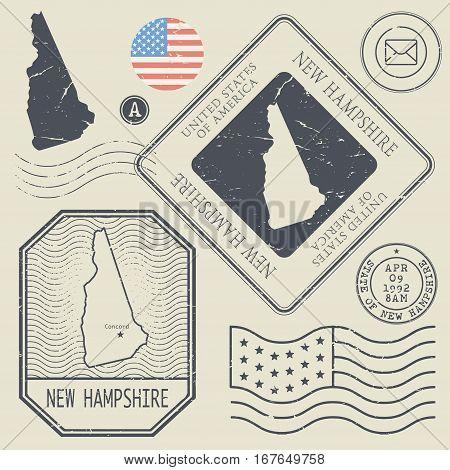 Retro vintage postage stamps set New Hampshire United States theme vector illustration