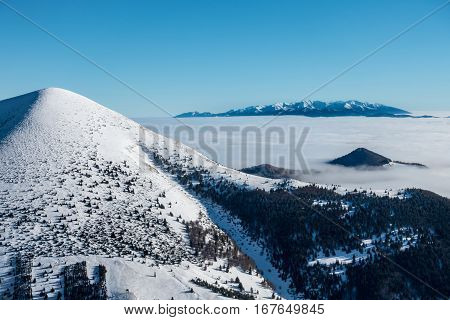 West Tatras Mountains From Winter Ridge Of Little Fatra Hills