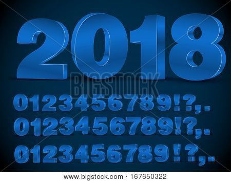 Four set of blue colored 3d vector numbers, from 0 to 9 and 2018 title