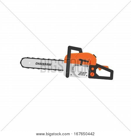 Chainsaw flat icon isolated on white background. Saw vector illustration