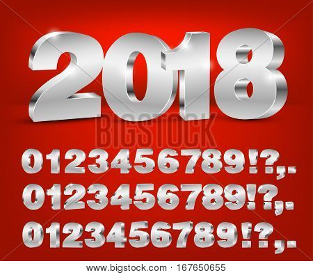 Four set of blue colored 3d vector numbers, from 0 to 9 and 2018 title on red background