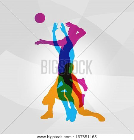 Vector modern logo volleyball. Setter, attacker volleyball player