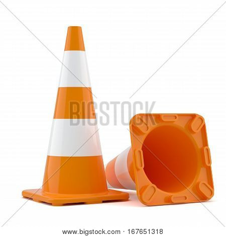 Two traffic cones, isolated on white. 3D Illustration