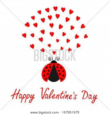 Red flying lady bug insect with hearts. Cute cartoon character. Happy Valentines Day. Love card. White background. Flat design. Vector illustration