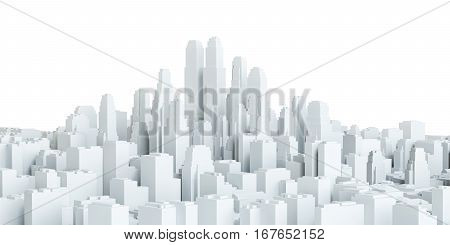 White city downtown isolated on white background. 3d illustration