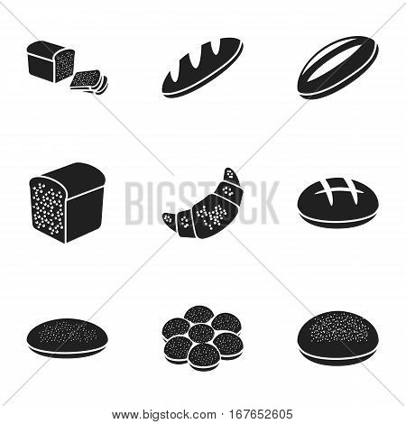 Bread set icons in black style. Big collection of bread vector symbol stock