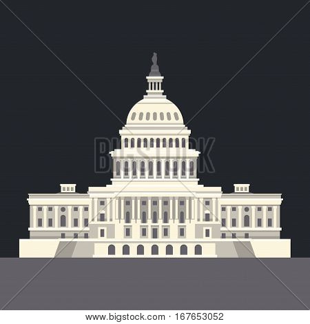 US National Capitol in Washington, DC. American landmark. Vector illustration