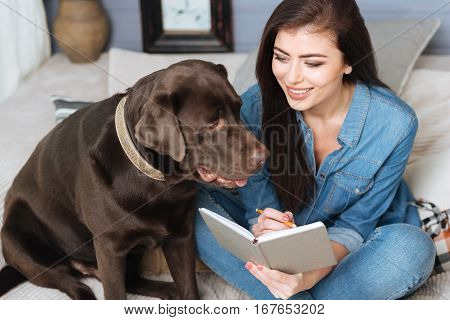 Planning the week. Elegant creative young woman using a notebook and a pencil making notes while her beautiful Labrador sitting on a couch beside her