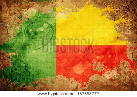 Grunge vintage Benin flag