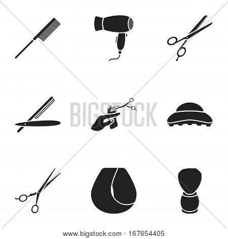 Hairdresser set icons in black style. Big collection of hairdresser vector symbol stock