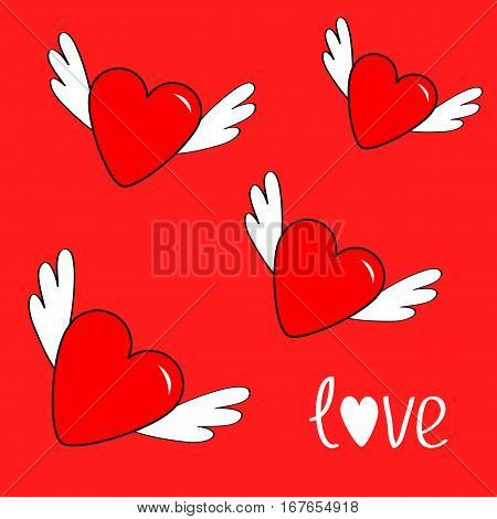 Heart set with wings. Cute cartoon contour sign symbol. Winged shining angel hearts. Flat design style. Love greeting card. Isolated. Red background. Vector illustration
