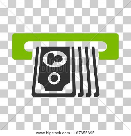 ATM Insert Cash icon. Vector illustration style is flat iconic bicolor symbol eco green and gray colors transparent background. Designed for web and software interfaces.
