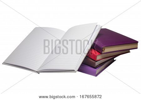 Five notebooks notebooks with different covers are located on a white isolated background.