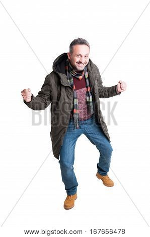 Full Body Man Posing Being Happy Wearing Winter Casual Clothes